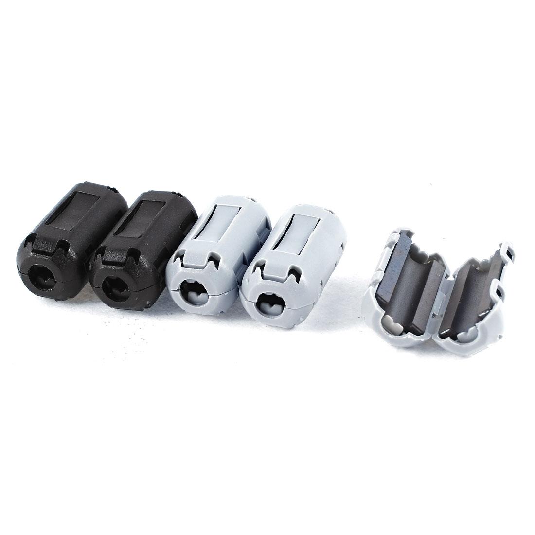 6mm Dia Black Gray Clip On EMI RFI Noise Ferrite Core Filter 5 Pcs