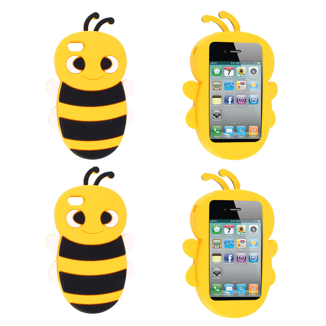 2 Pcs Bee Shaped Silicone Cover Case Yellow for iPhone 4 4G 4S