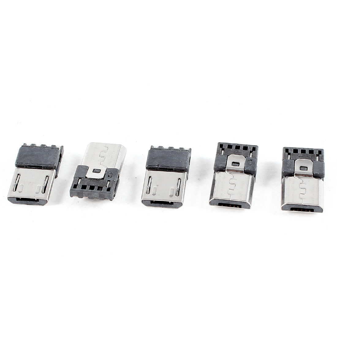 5pcs Male Micro USB Type B 5-Pin PCB Socket Connector Silver Tone Black