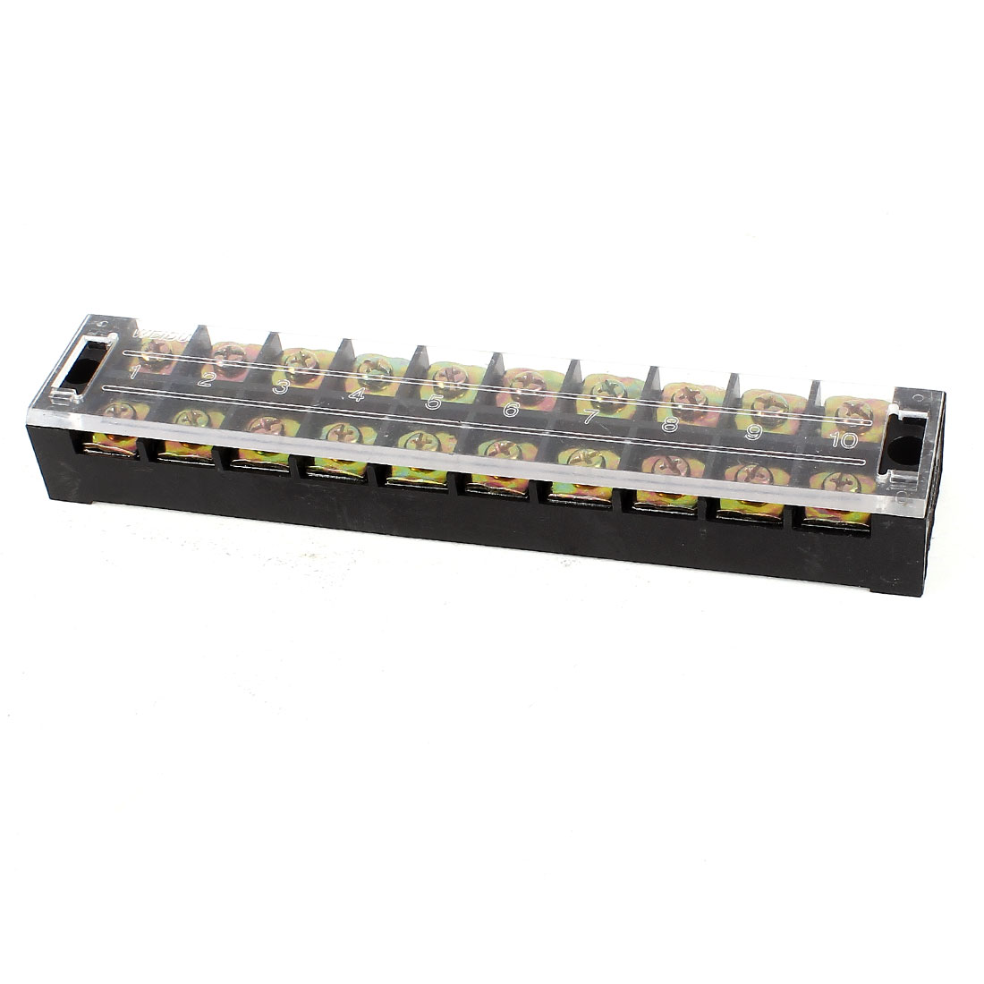 AC 600V 45A 10 Positions Dual Rows Covered Barrier Screw Terminal Block Strip