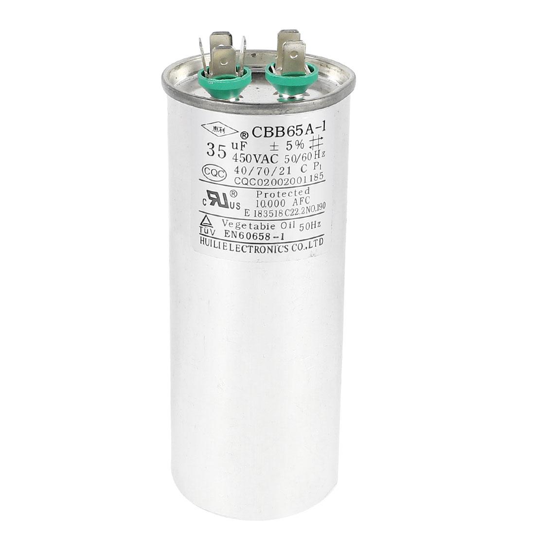 AC 450V 35uF CBB65A-1 6 Terminals Air Conditioner Motor Run Capacitor