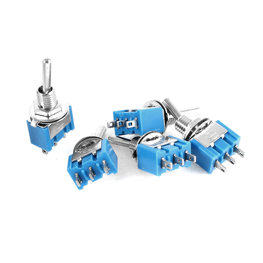 5 Pcs AC 125V 6A ON/ON 2 Position 3Pin SPDT Toggle Switch Blue