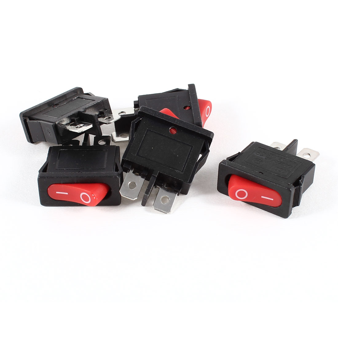 5 Pcs AC 6A/250V 10A/125V Red Light I/O SPST Snap in Boat Rocker Switch