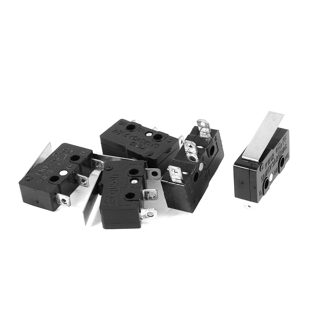 5 Pcs AC 250V/125V 3A/5A SPDT 1NO 1NC Momentary Hinge Lever Micro Switch