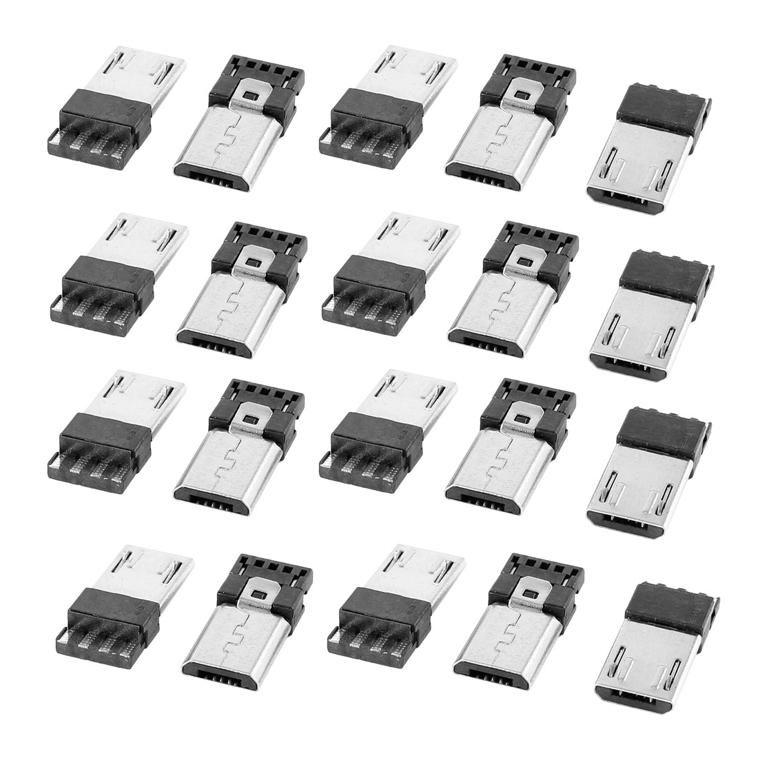 10 Pcs Micro USB Male Type B 5-Pin Jack Port Solder Connector