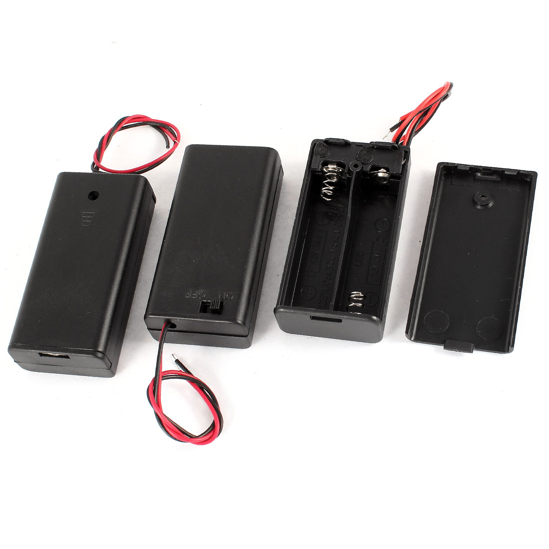 3 Pcs Black Rectangle Plastic Shell Holders Case for 2 x 1.5V AA Battery