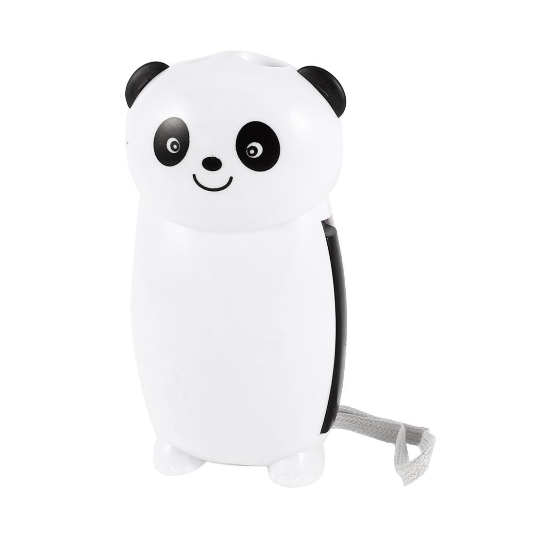 Panda Shape Strap Plastic Hand-pressing 2 LED Flashlight Torch