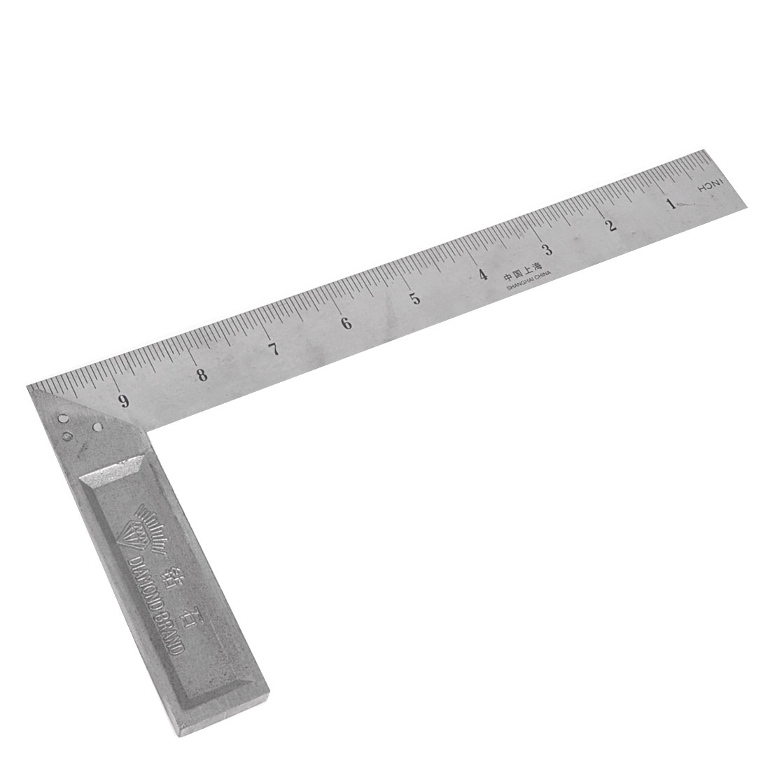 90 Degree Angle 0 - 25 Centimeters 0-10 Inch Metal Square Ruler Silver Tone