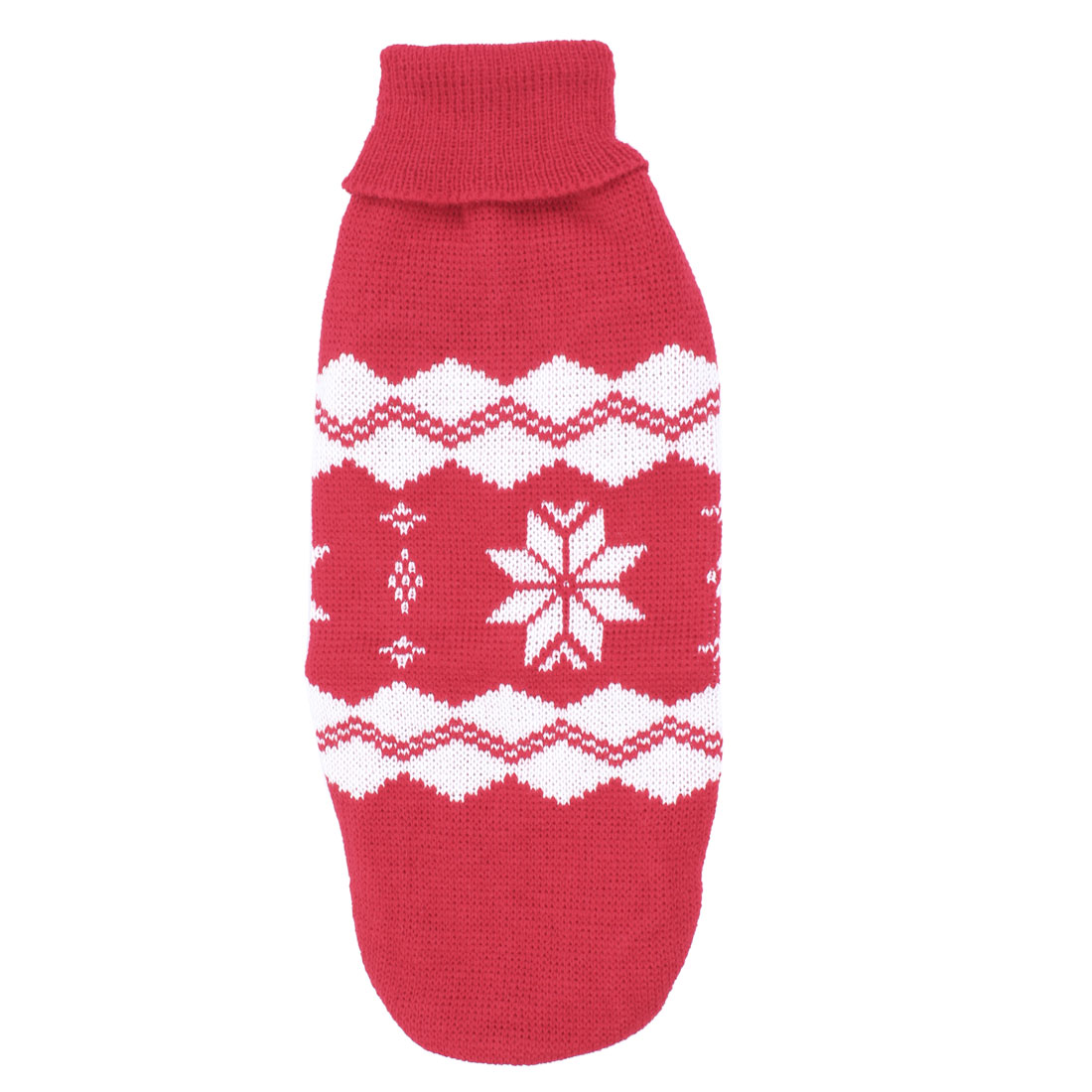 Pet Dog Yorkie Snowflake Print Ribbed Cuff Knitwear Turtleneck Apparel Sweater White Red Size S