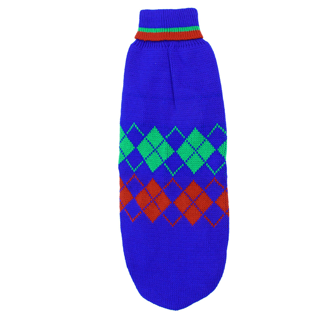 Pet Puppy Poodle Ribbed Cuff Knitwear Turtleneck Apparel Sweater Blue Green Red Size M