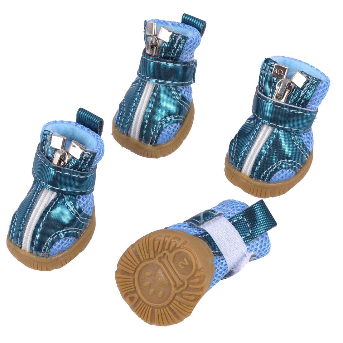Pet Dog Cat Hook Loop Fastener Zip Closure Mesh Style Paw Pattern Antislip Sole Detachable Closure Shoes Blue 2 Pair XS