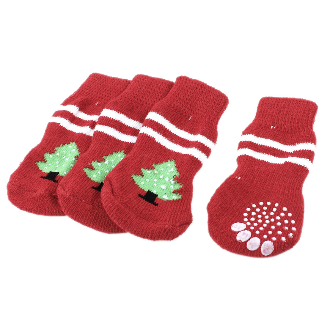 2 Pairs Red Nonslip Christmas Tree Pattern Acrylic Dog Puppy Pet Socks Size L
