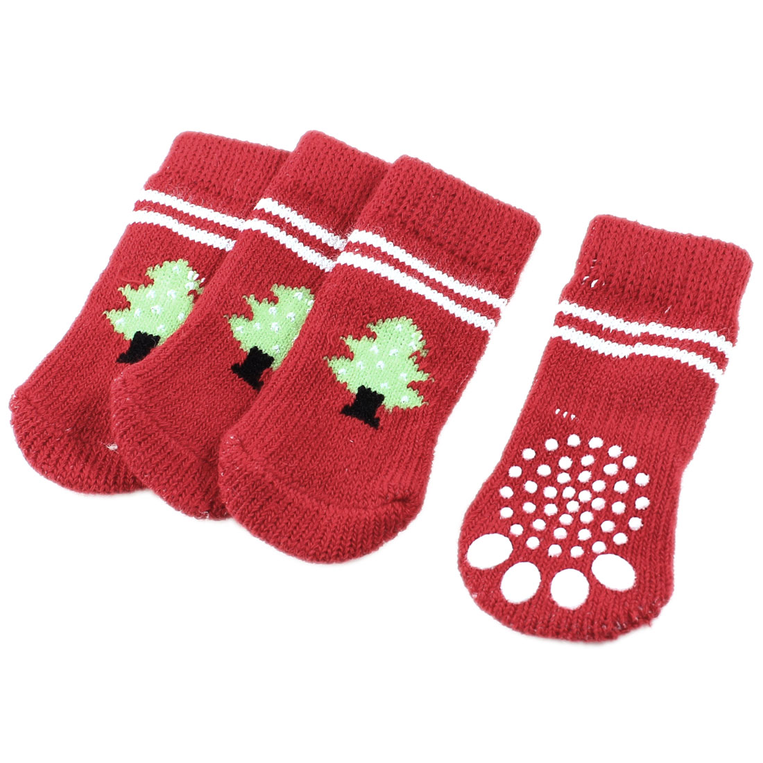 2 Pairs Red Nonslip Christmas Tree Printed Acrylic Doggie Puppy Pet Socks Size M