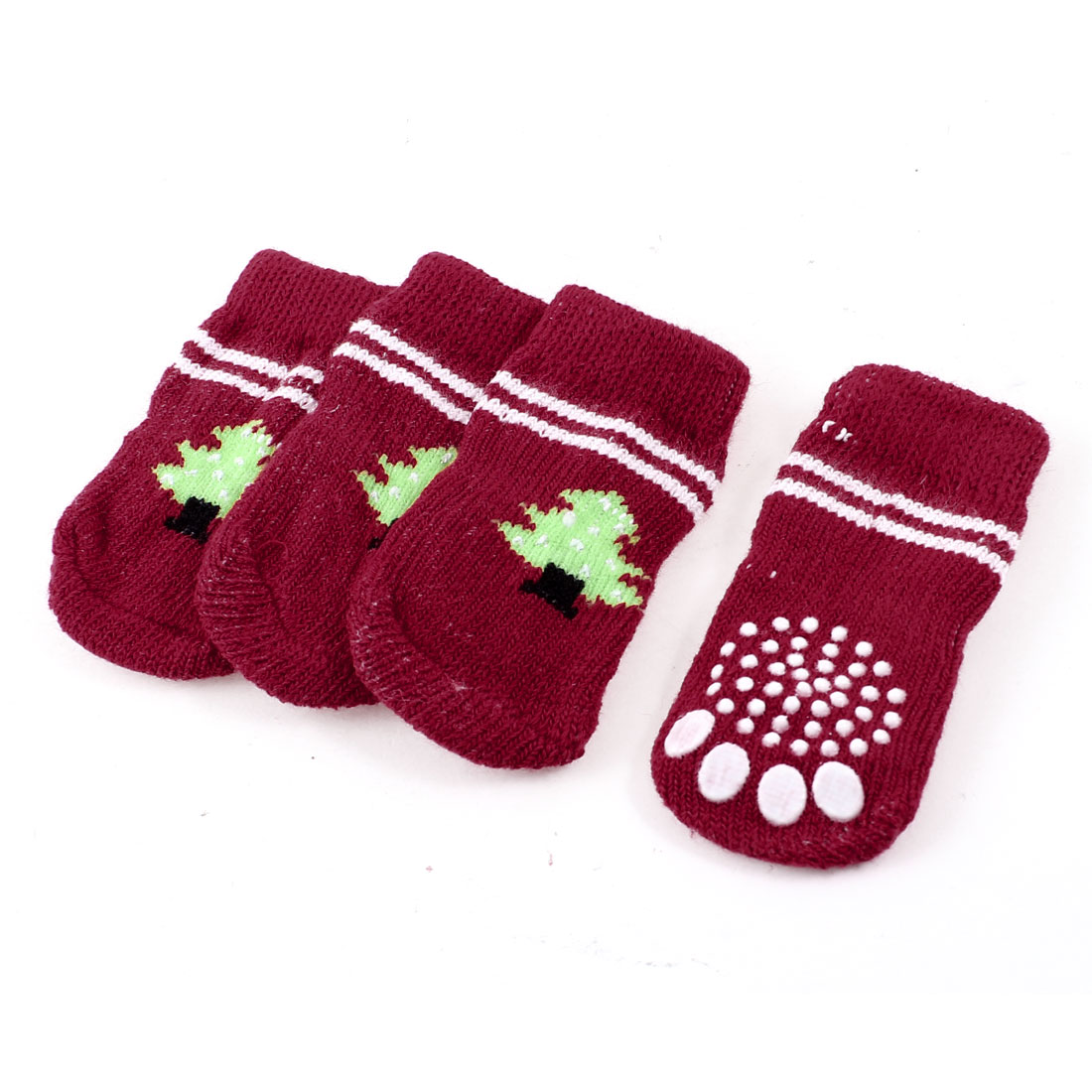 2 Pairs Red Nonslip Christmas Tree Printed Acrylic Doggie Puppy Pet Socks Size S