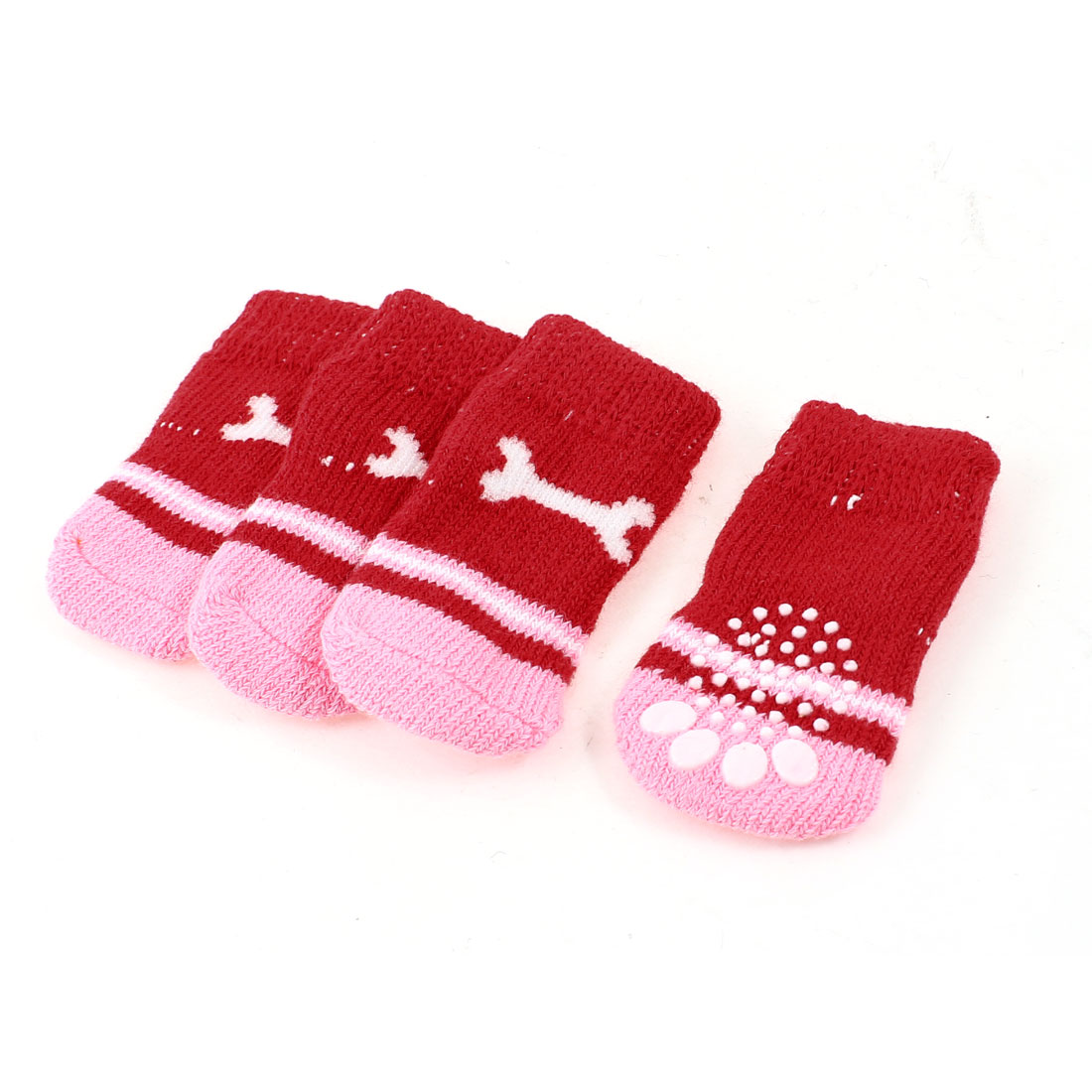 2 Pairs Red Pink Nonslip Bone Pattern Acrylic Dog Puppy Pet Socks Size M