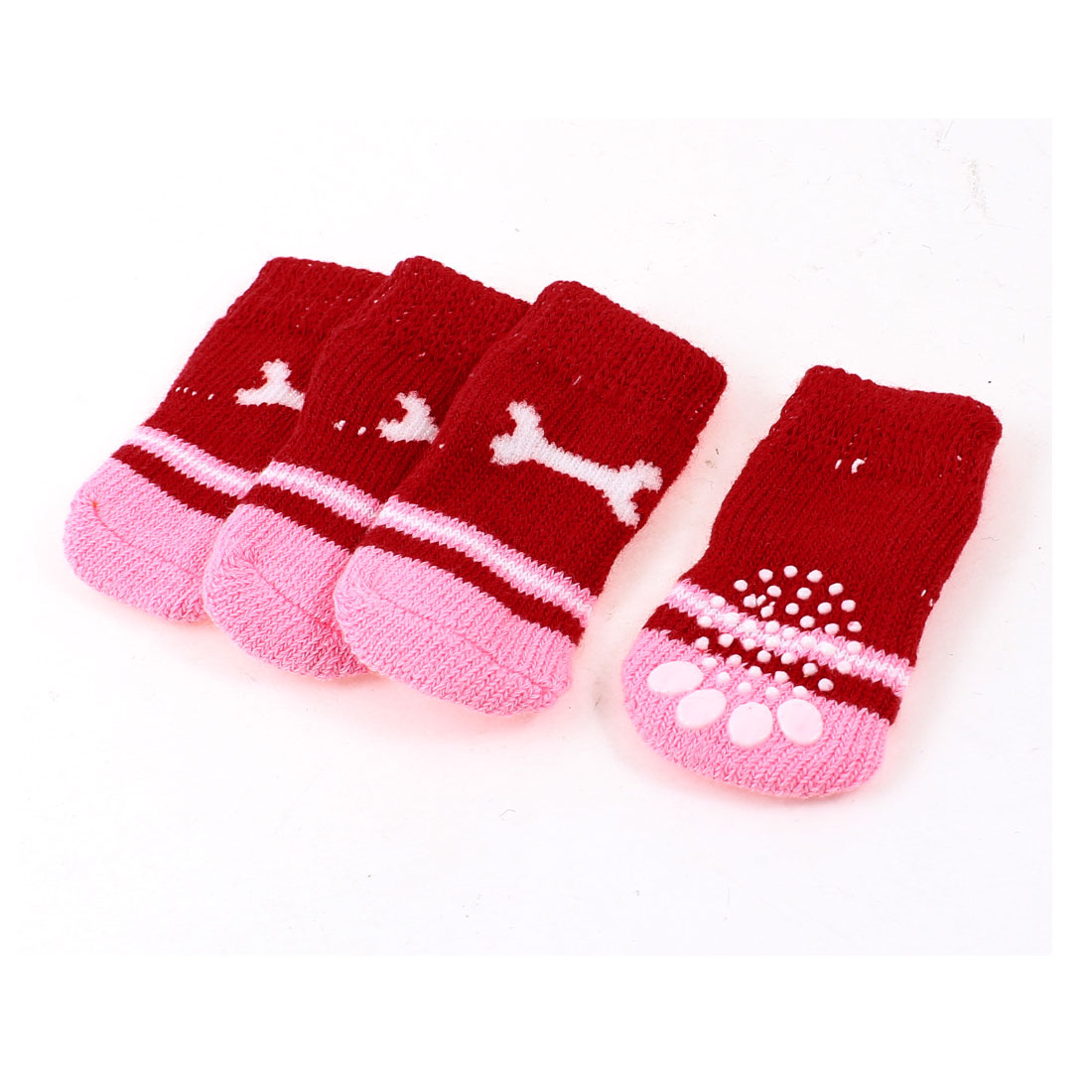 2 Pairs Red Pink Nonslip Bone Printed Acrylic Doggie Puppy Pet Socks Size S