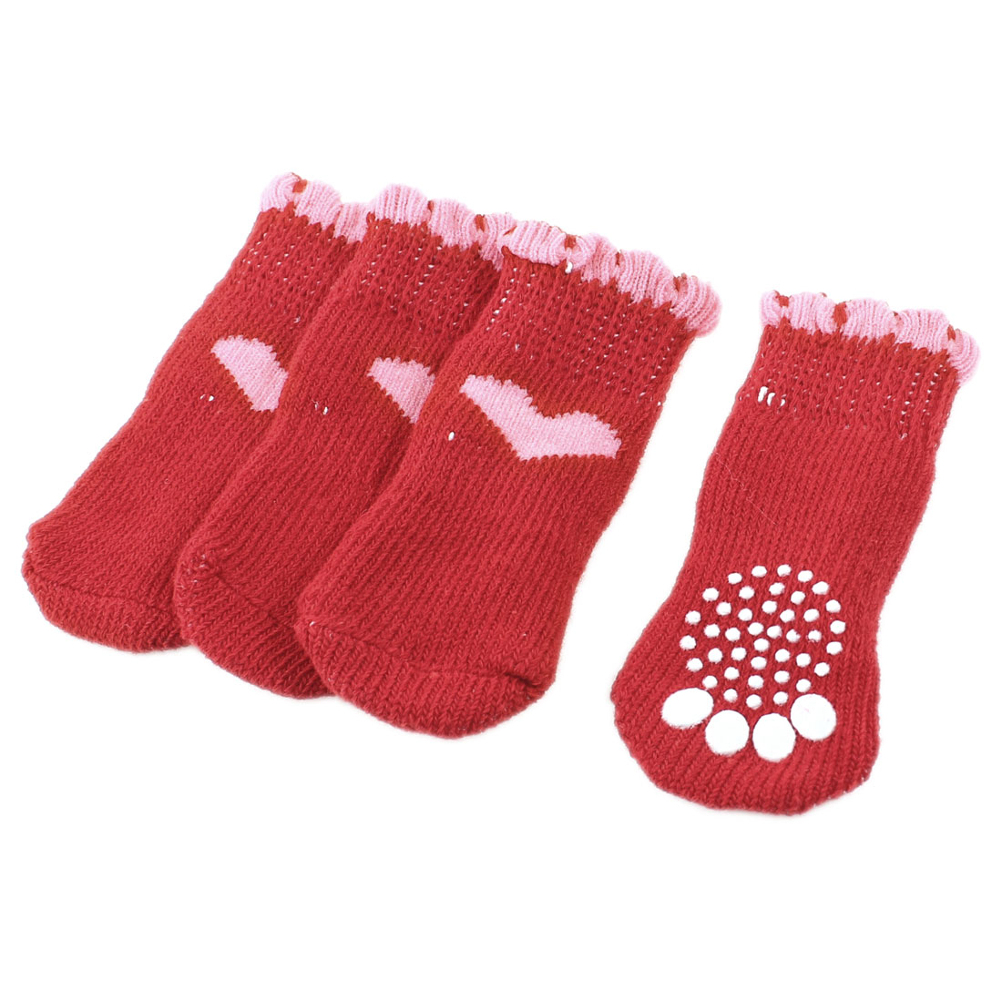 2 Pairs Red Nonslip Paw Printed Acrylic Doggie Puppy Pet Socks Size M