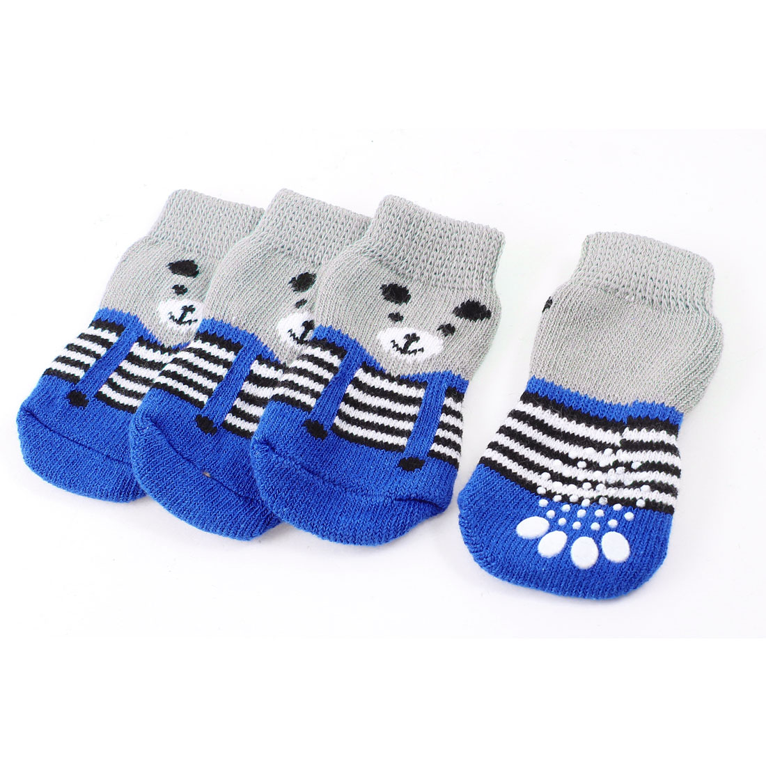 2 Pairs Gray Blue Nonslip Paw Printed Acrylic Doggie Puppy Pet Socks Size L