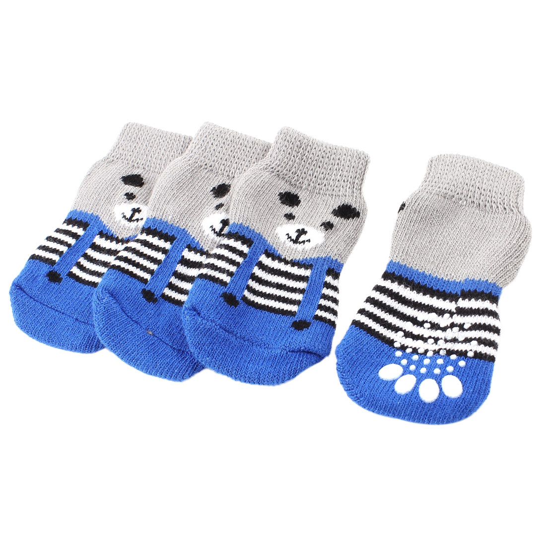 2 Pairs Gray Blue Nonslip Paw Printed Acrylic Doggie Puppy Pet Socks Size S