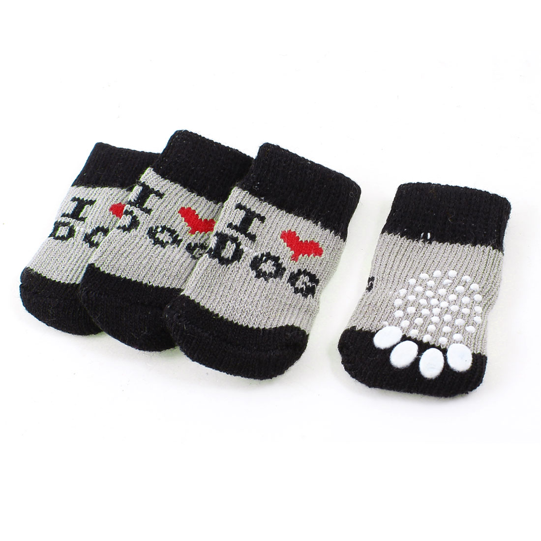 2 Pairs Gray Black Nonslip Paw Printed Acrylic Doggie Puppy Pet Socks Size S