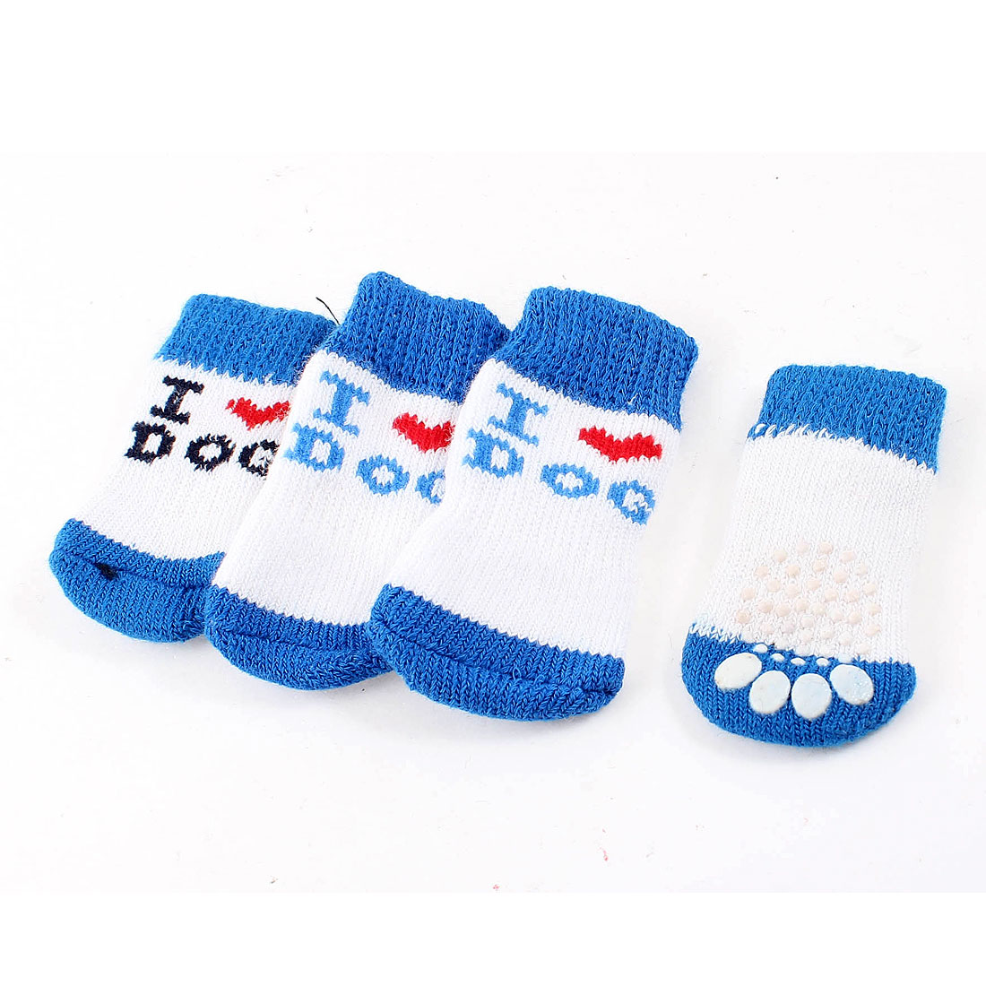 2 Pairs White Blue Nonslip Paw Printed Acrylic Doggie Puppy Pet Socks Size S