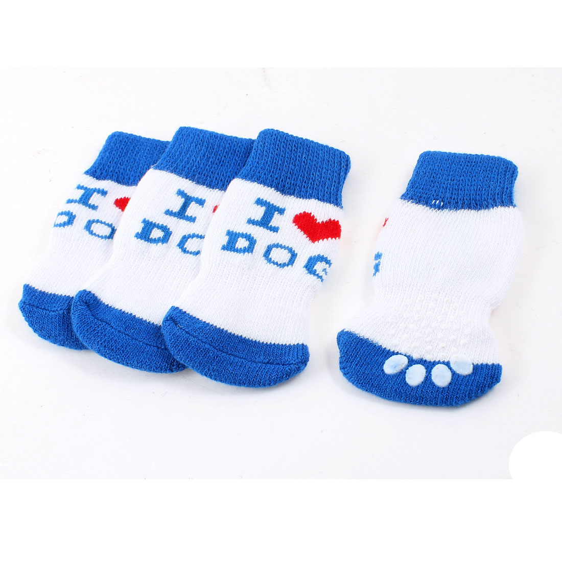 2 Pairs White Blue Nonslip Paw Printed Acrylic Dog Puppy Pet Socks Size L