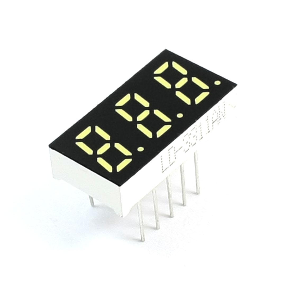 3 Bits 7 Segment White LED Display Digital Tube Common Cathode 21x11mm