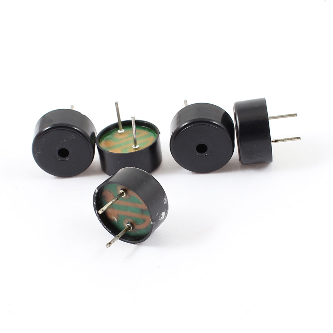 5pcs DC 1-30V 2mA 2 Terminal Cylinder Industrial Electronic Electromagnetic Continuous Sound Passive Buzzer Black 14x7mm