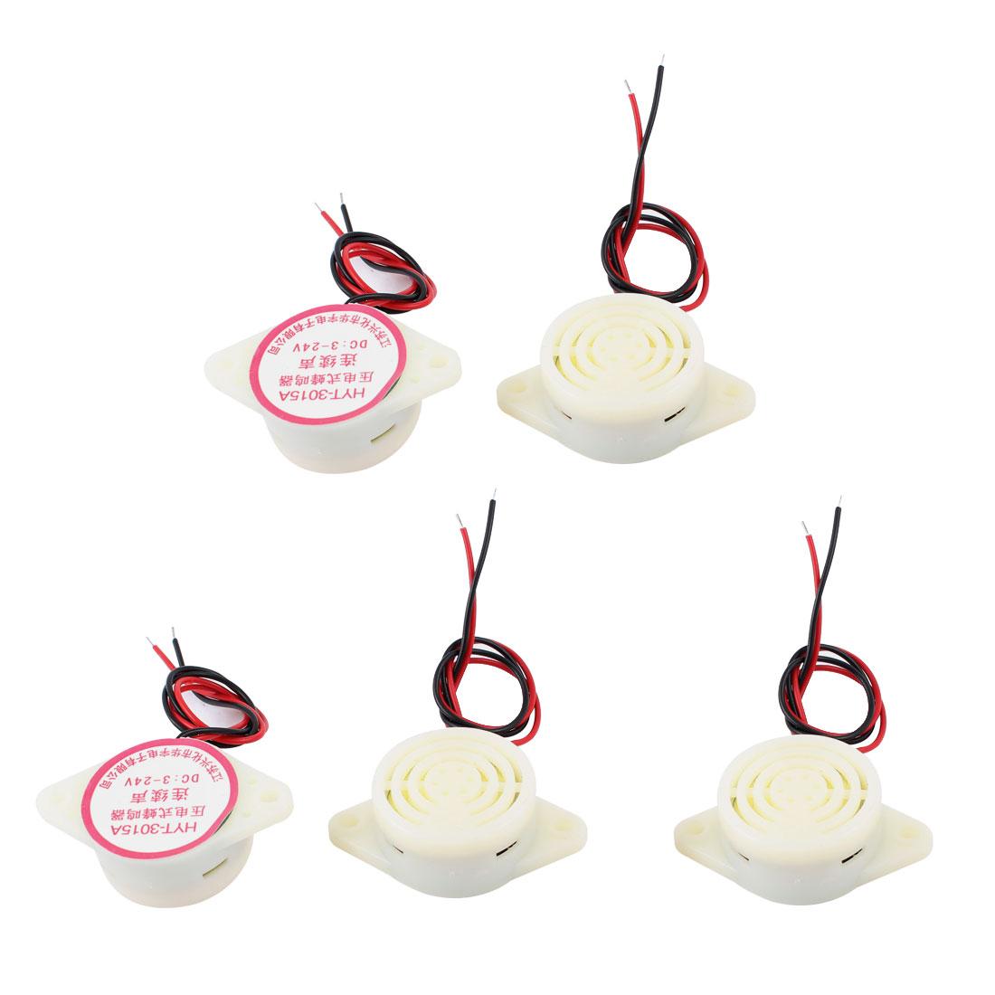 5 Pcs DC 3-24V Plastic Shell Continuous Sound Electronic Buzzer Alarm Beige