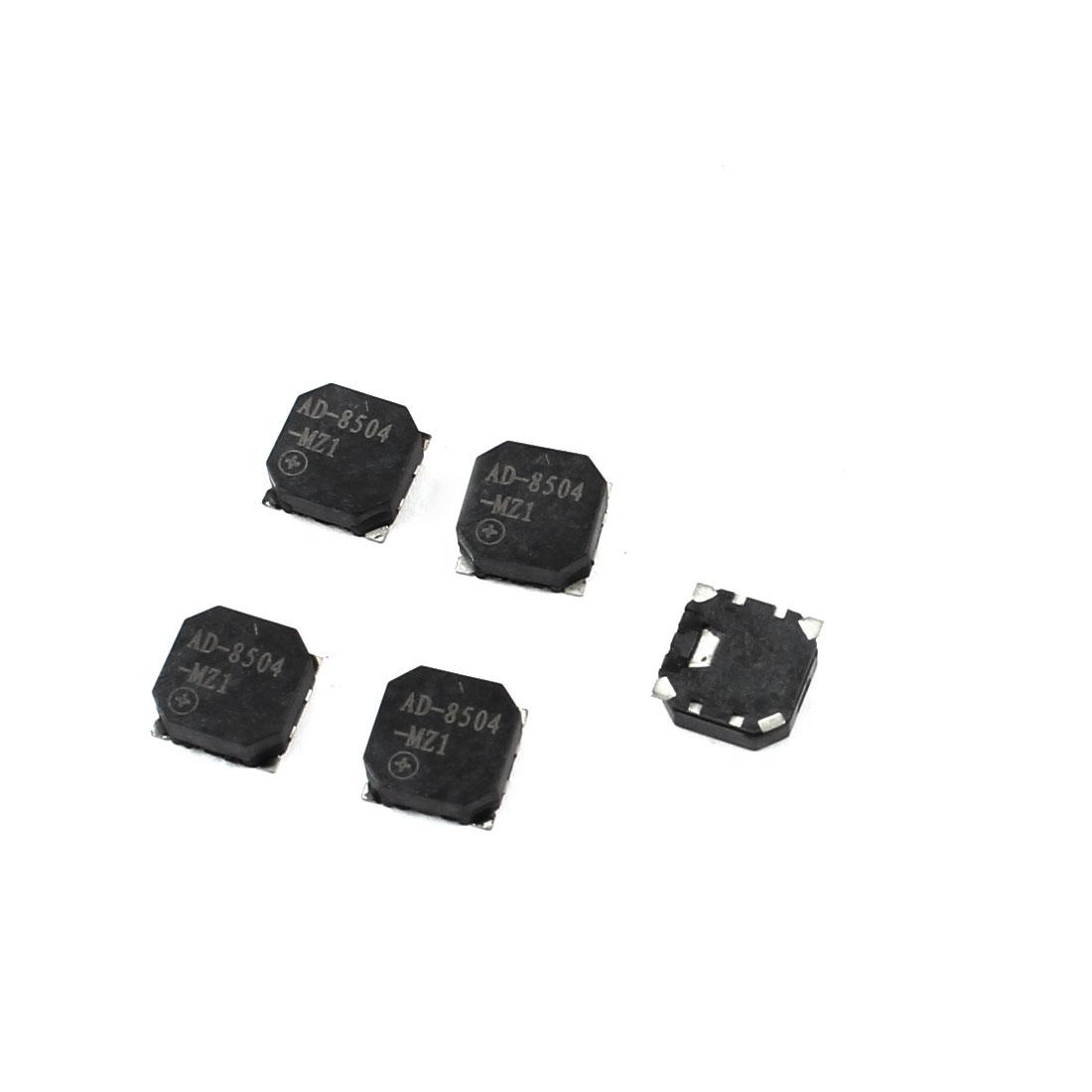 5pcs 8.5mm x 8.5mm x 3mm Square Shape Passive SMD Buzzer Black DC 1-30V 90mA