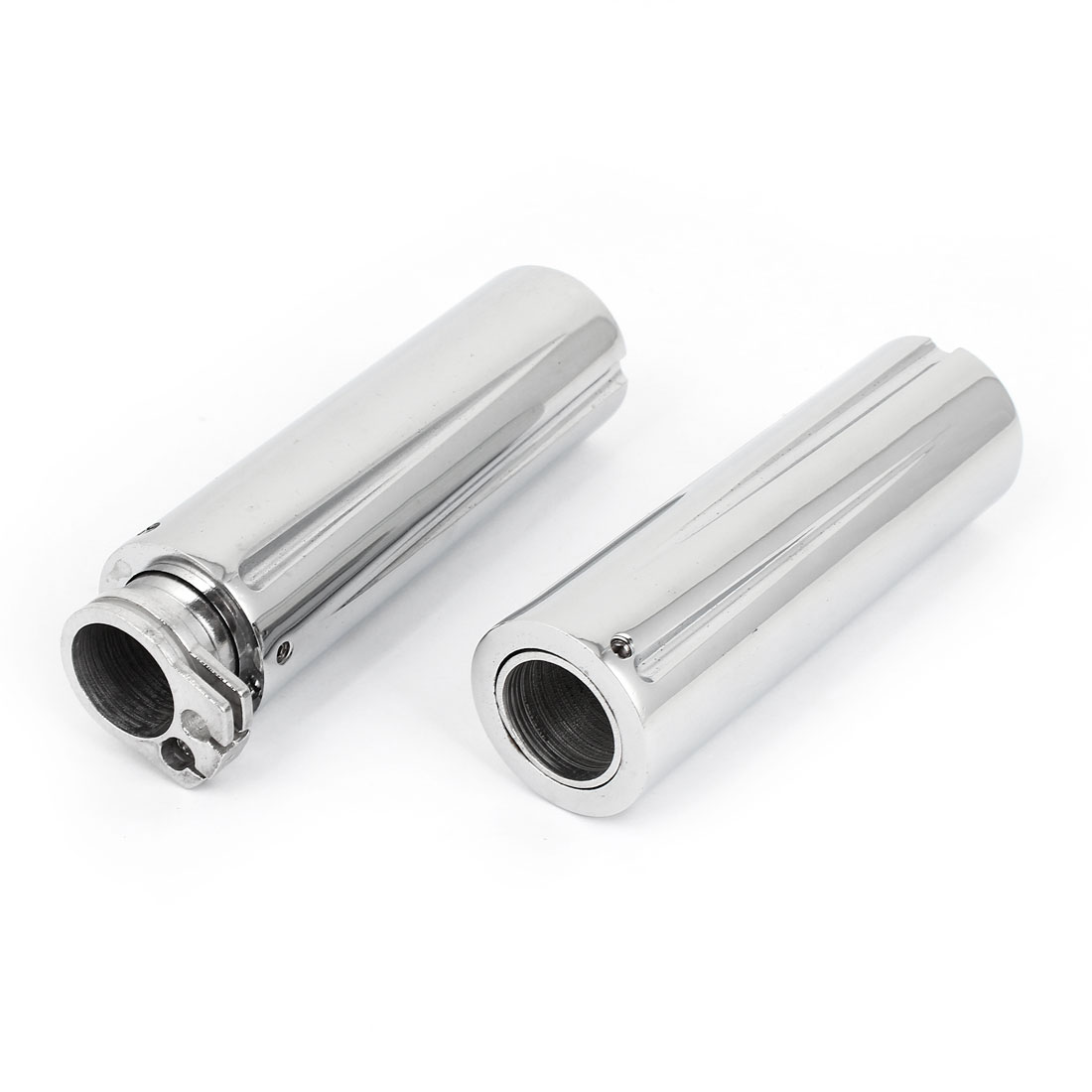 Motorcycle Motorbike Silver Tone Aluminum Alloy Grip Covers Protector 2 Pcs