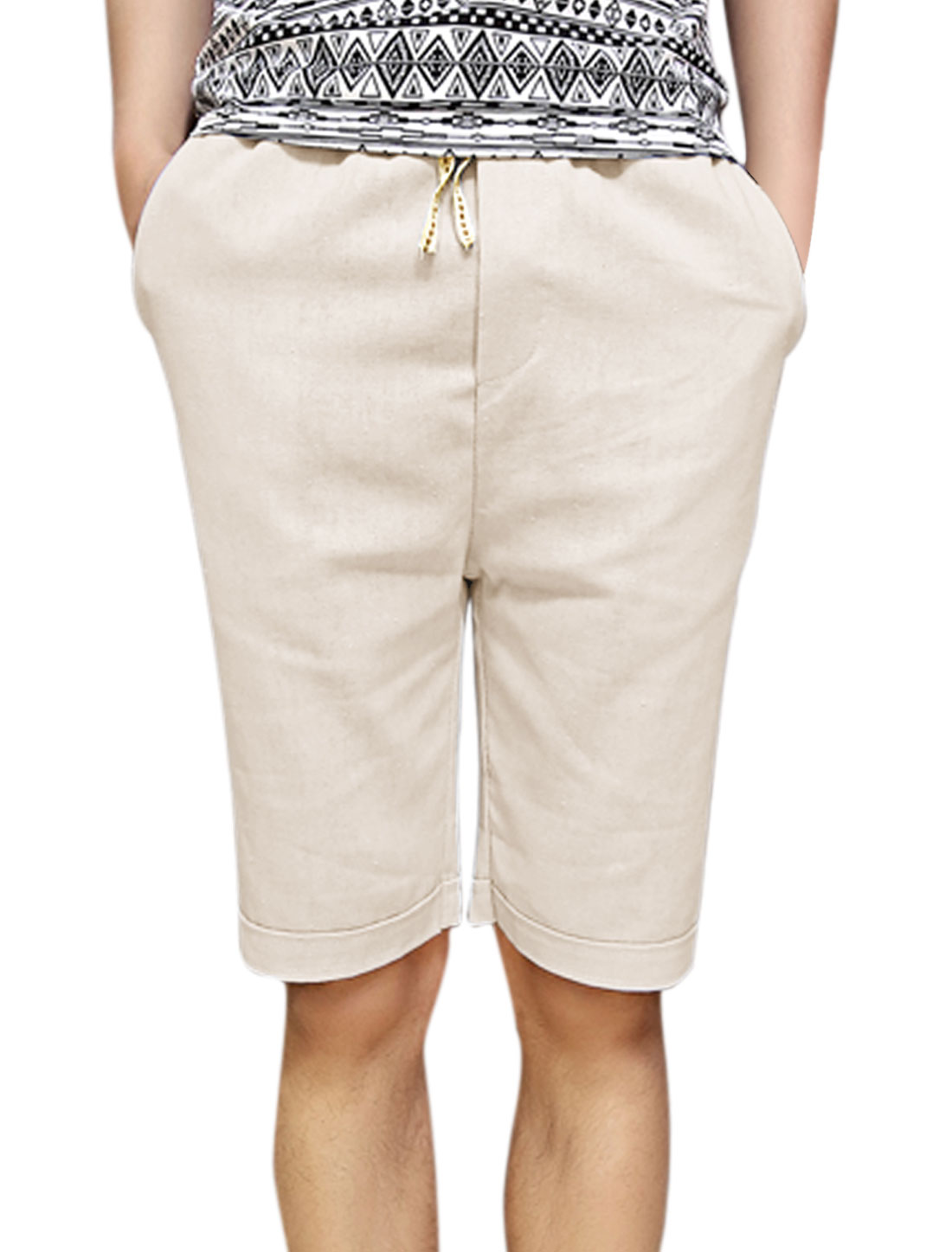 Men Slant Front Pockets Elastic Waist Mid Rise Shorts Beige W30