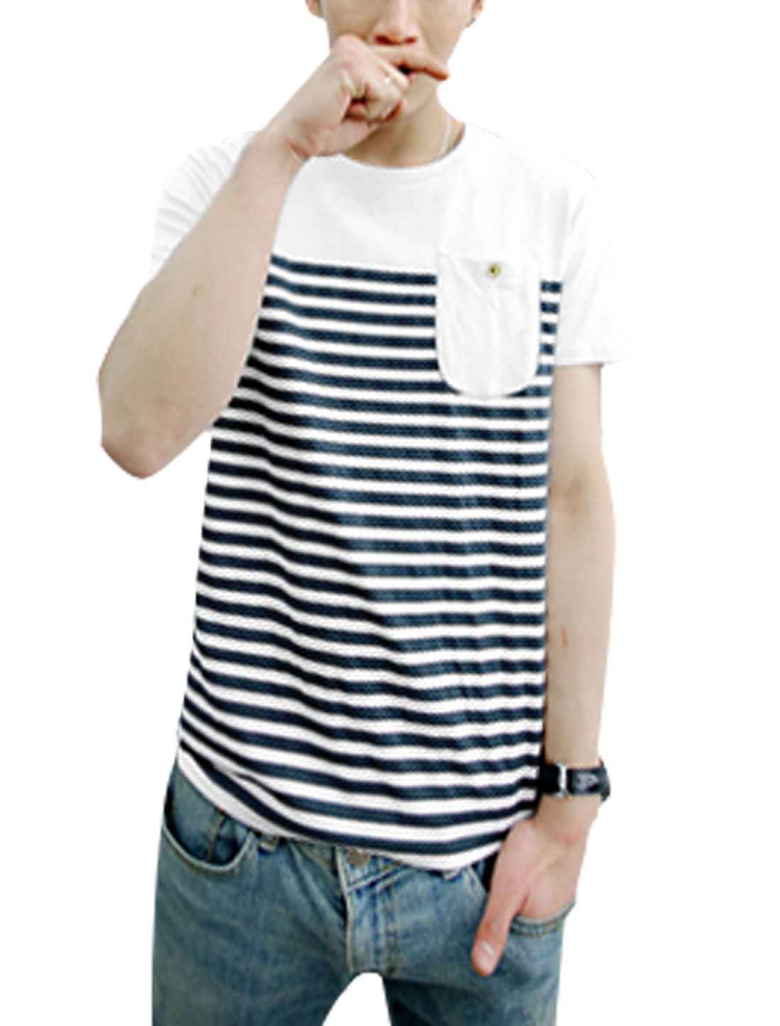 Men Stripes Print Panel Chest Pocket Pullover Tee Shirt White Navy Blue M
