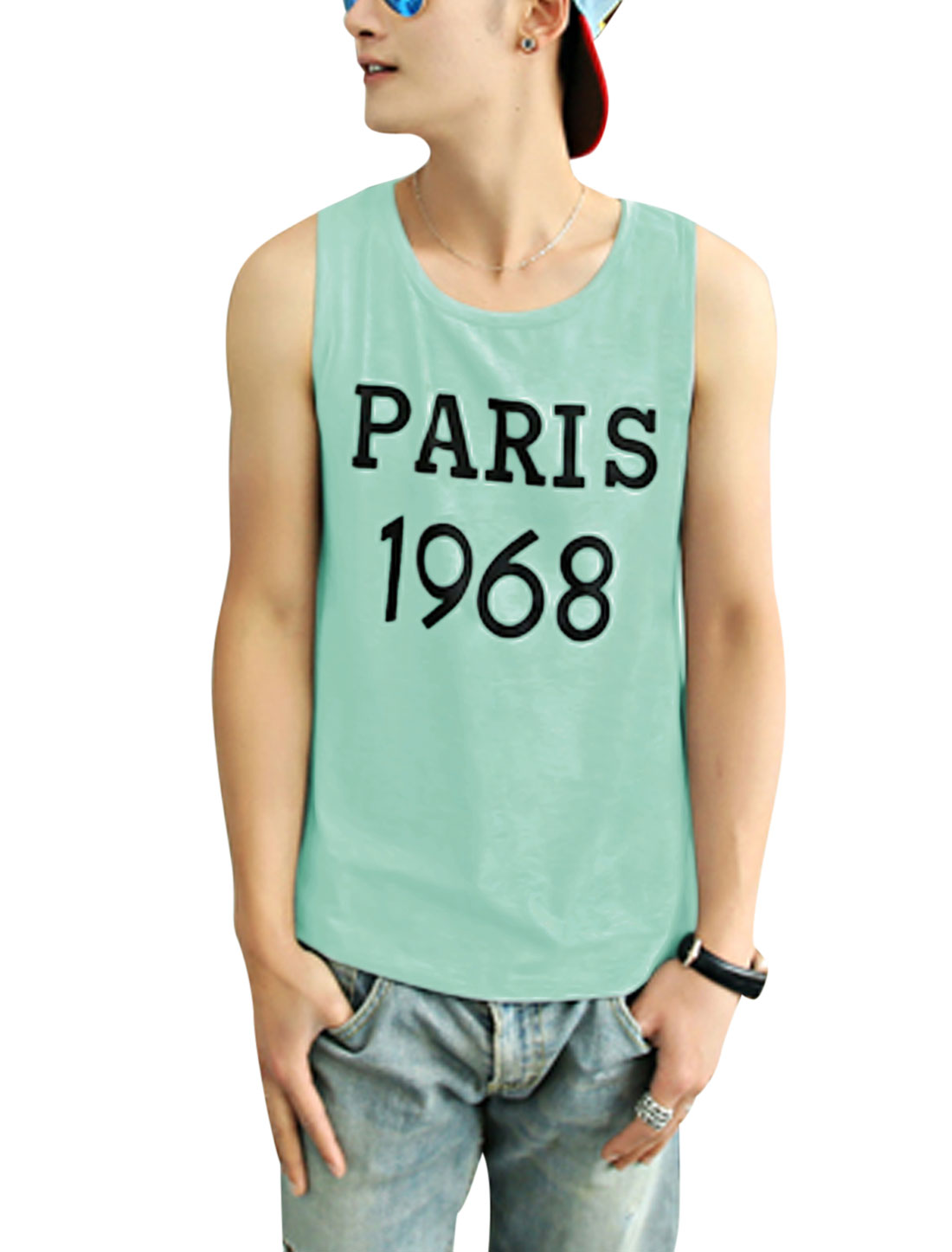 Man's Round Neck Letters Print Tank Top Pea Green M