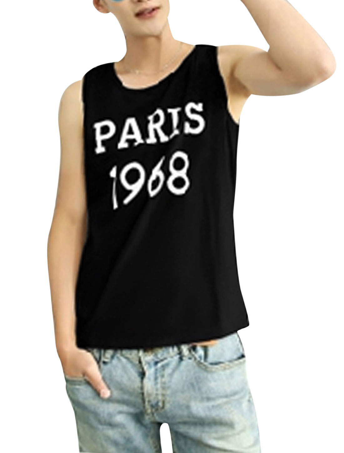 Men Letters Number Print Sleeveless Casual Tank Top Black M