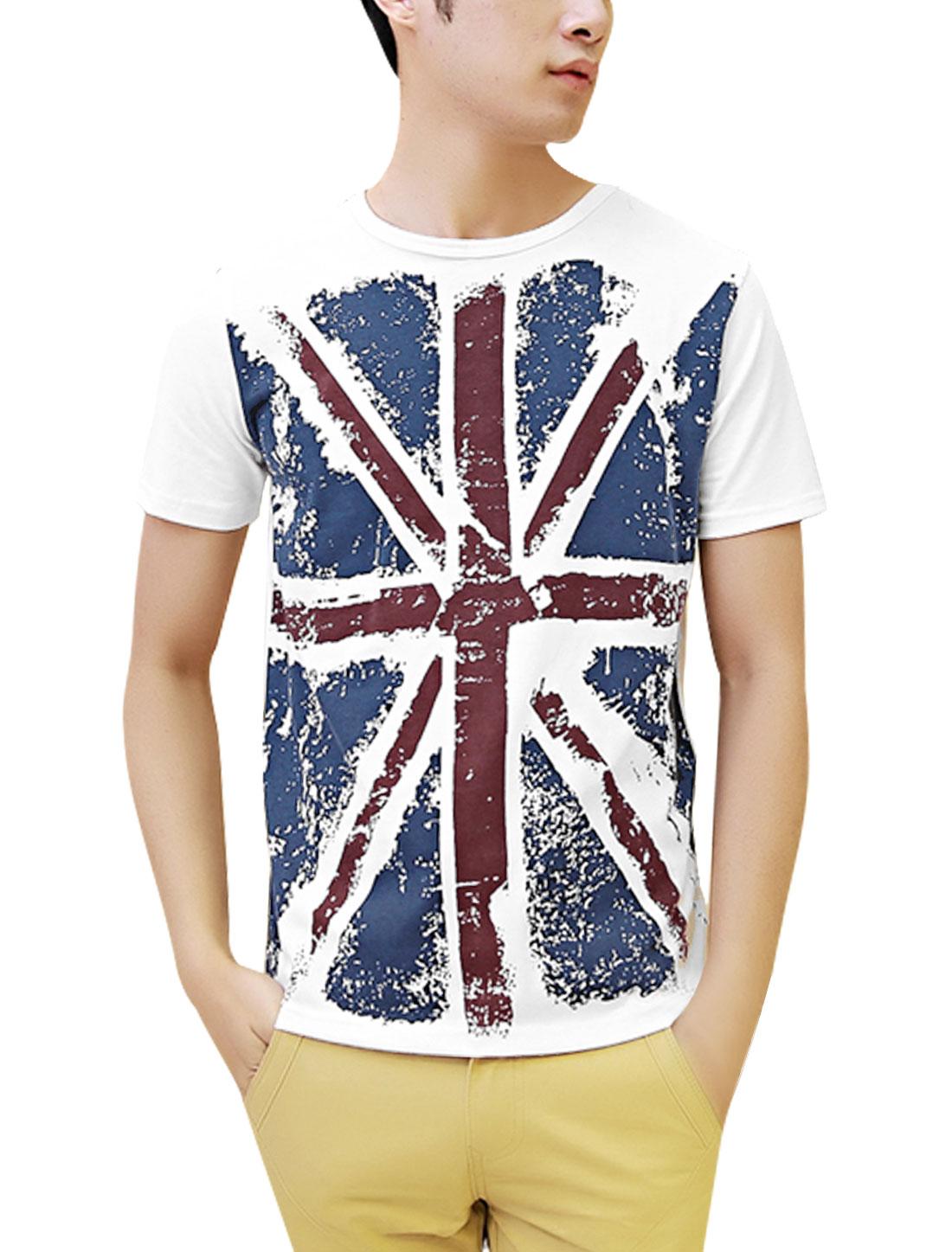 Man Union Jack Print Pullover Short Sleeve Tee Shirt White M