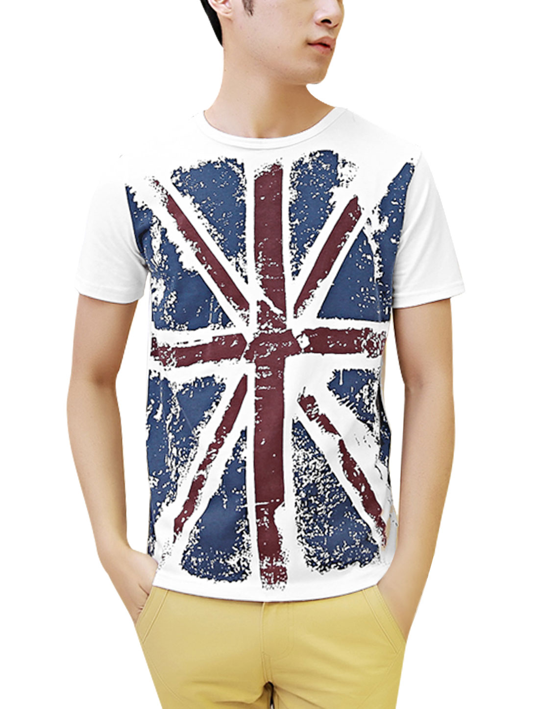 Man British Flag Print Short Sleeve Tee Shirt White L