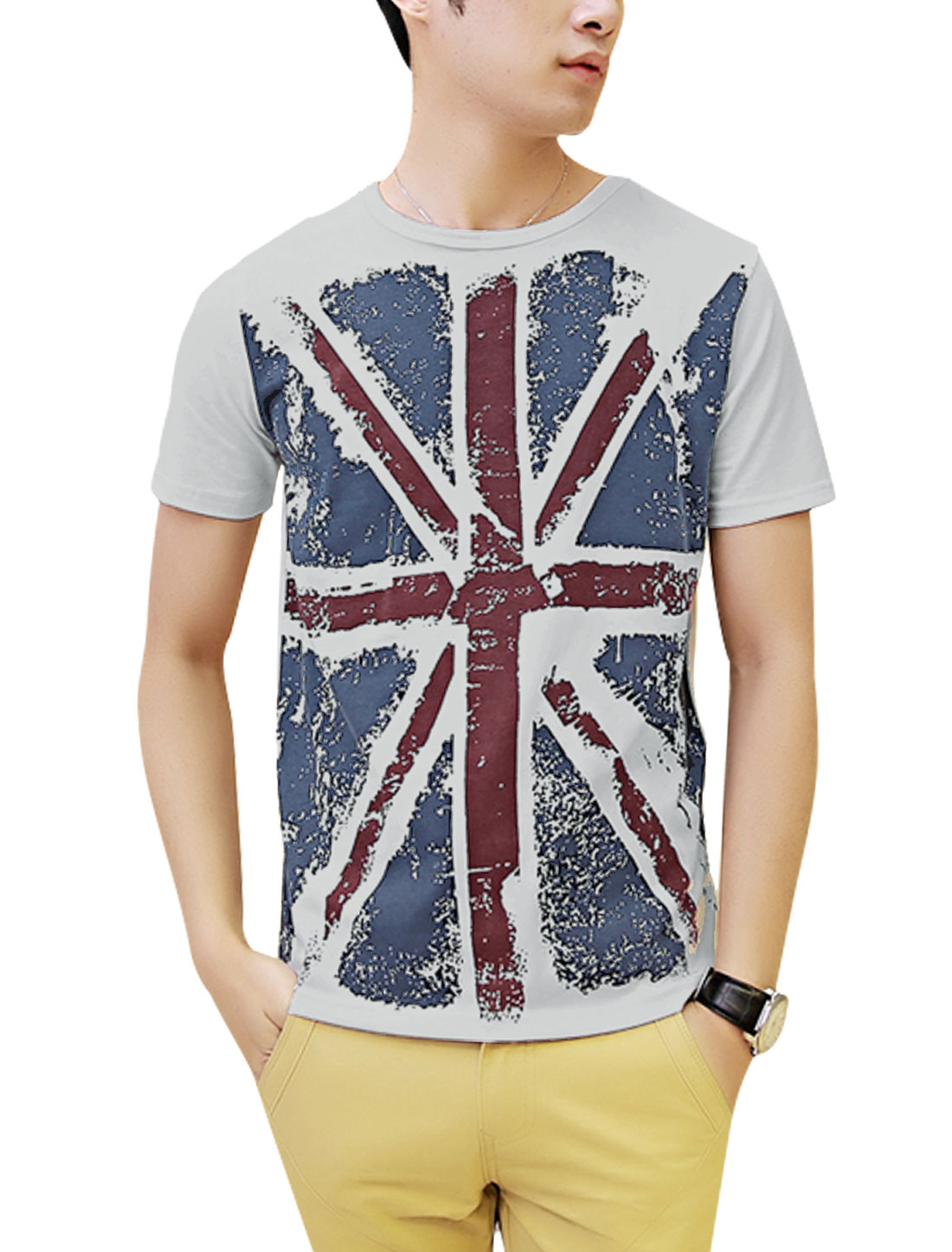 Man's Short Sleeve British Flag Print Summer Fit Top Light Gray L