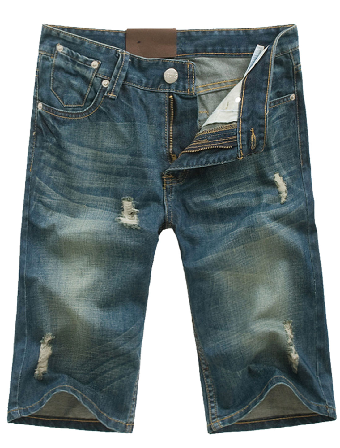 Man Distressed Detail Zip Fly Hip Pockets Belt Loop Denim Shorts Dark Blue W32