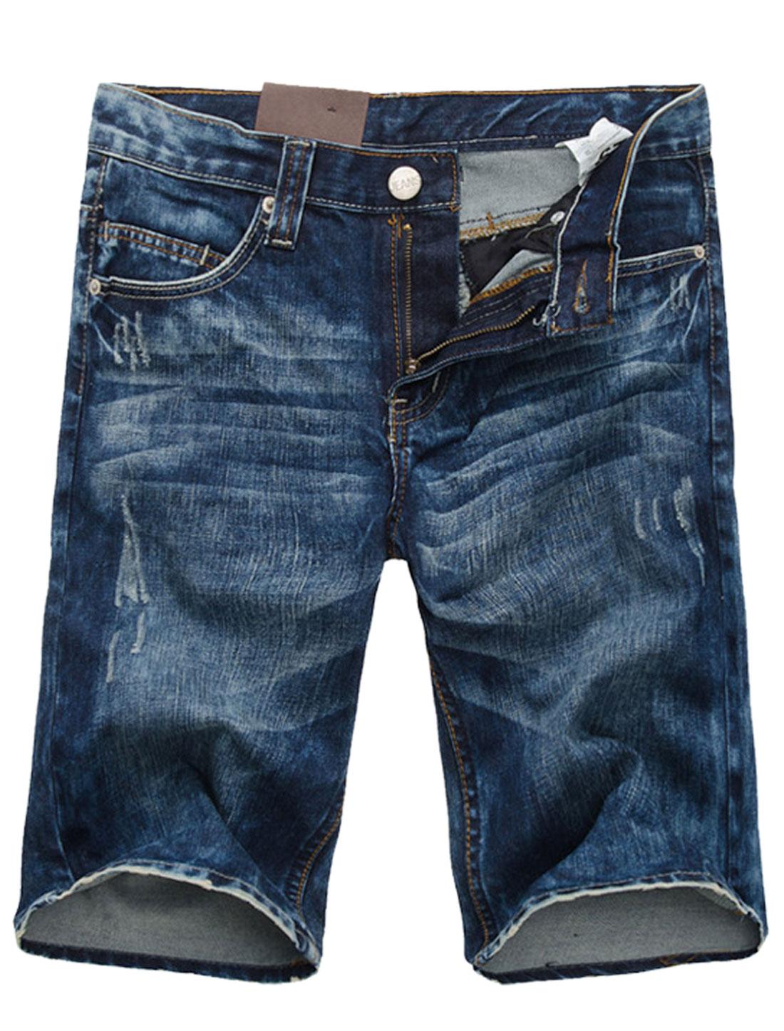Belt Loop Zip Fly Front Pockets Denim Shorts for Men Dark Blue W30