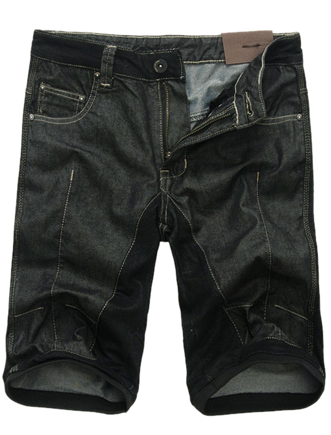 Men Zip Fly Single Button Closure Panel Denim Shorts Black W30