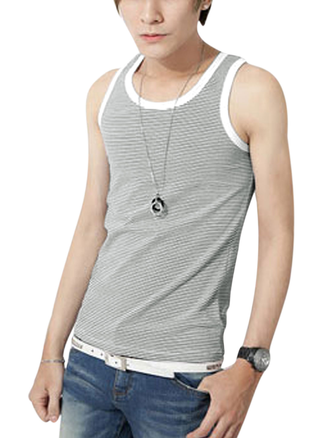 Man Summer Fit U Neck Stripes Print Tank Top Gray White S