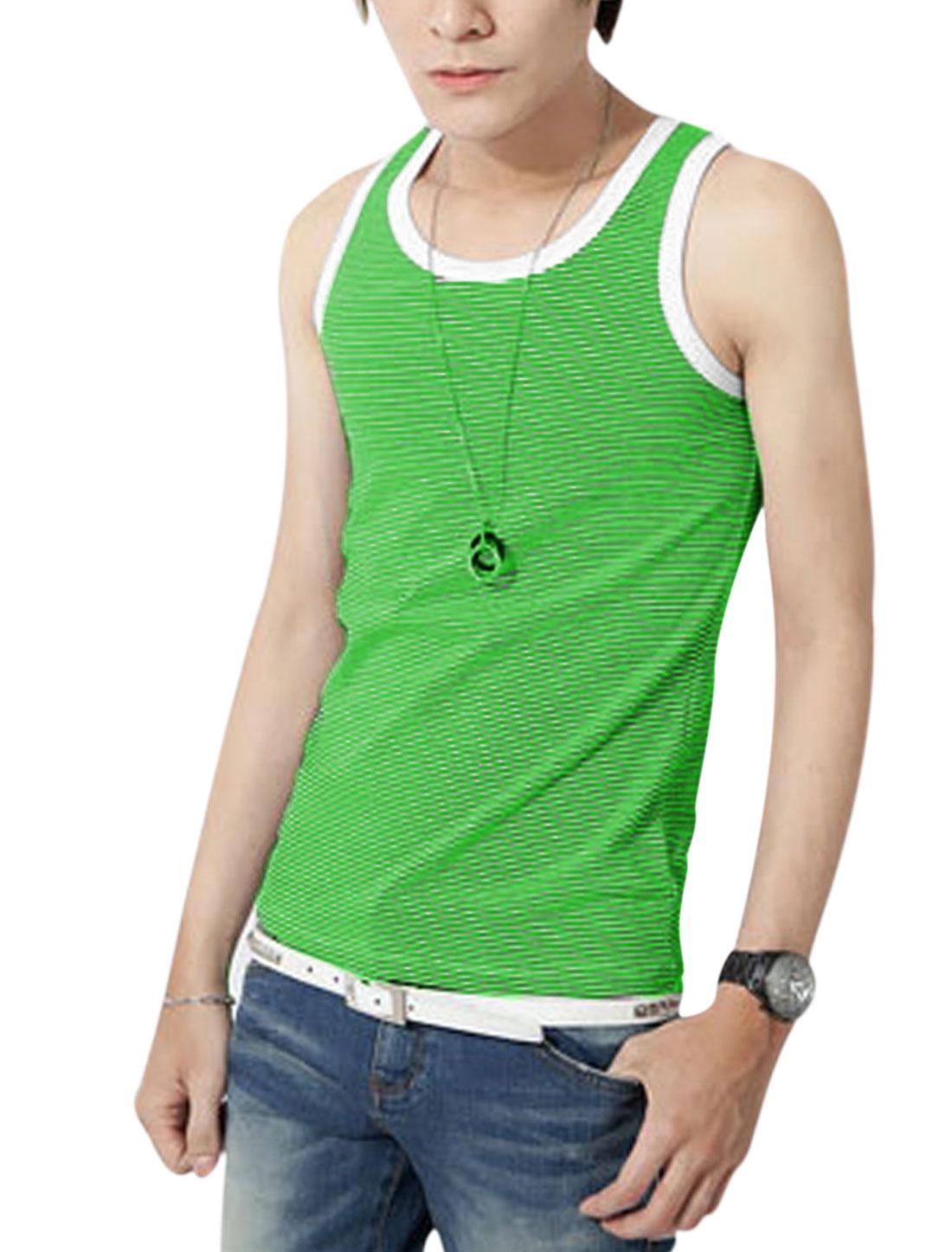 Man's Sleeveless U Neck Stripes Print Pullover Top Green White S