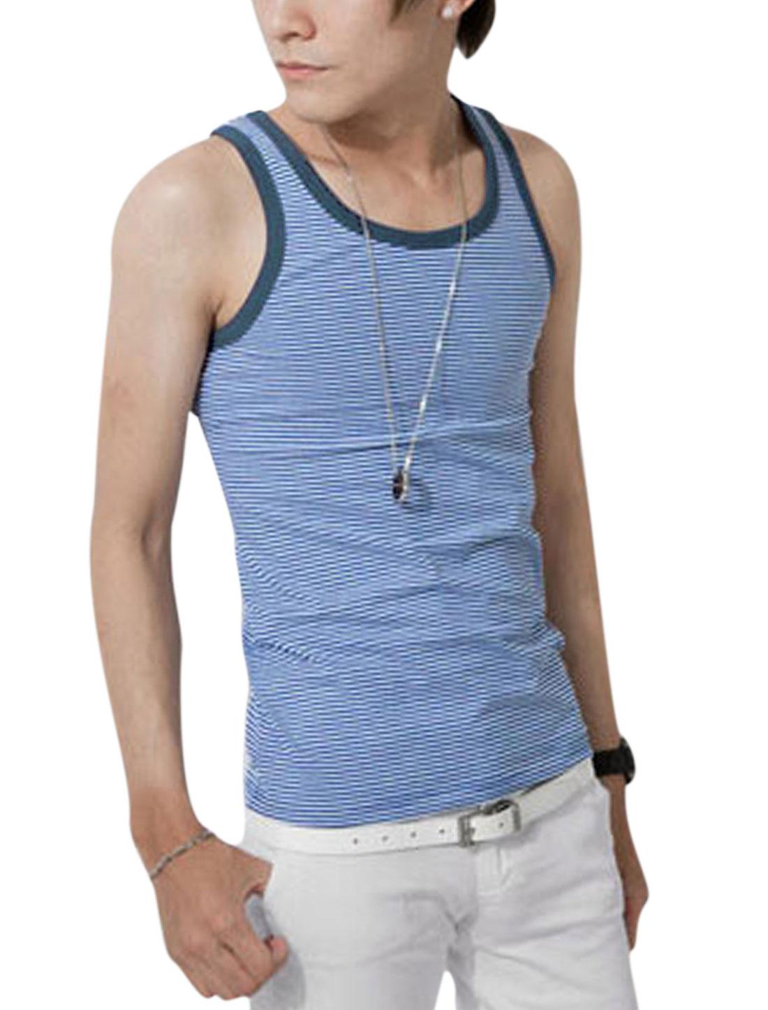 Men's Pullover Stripes Print Summer Fit Tank Top Blue White S