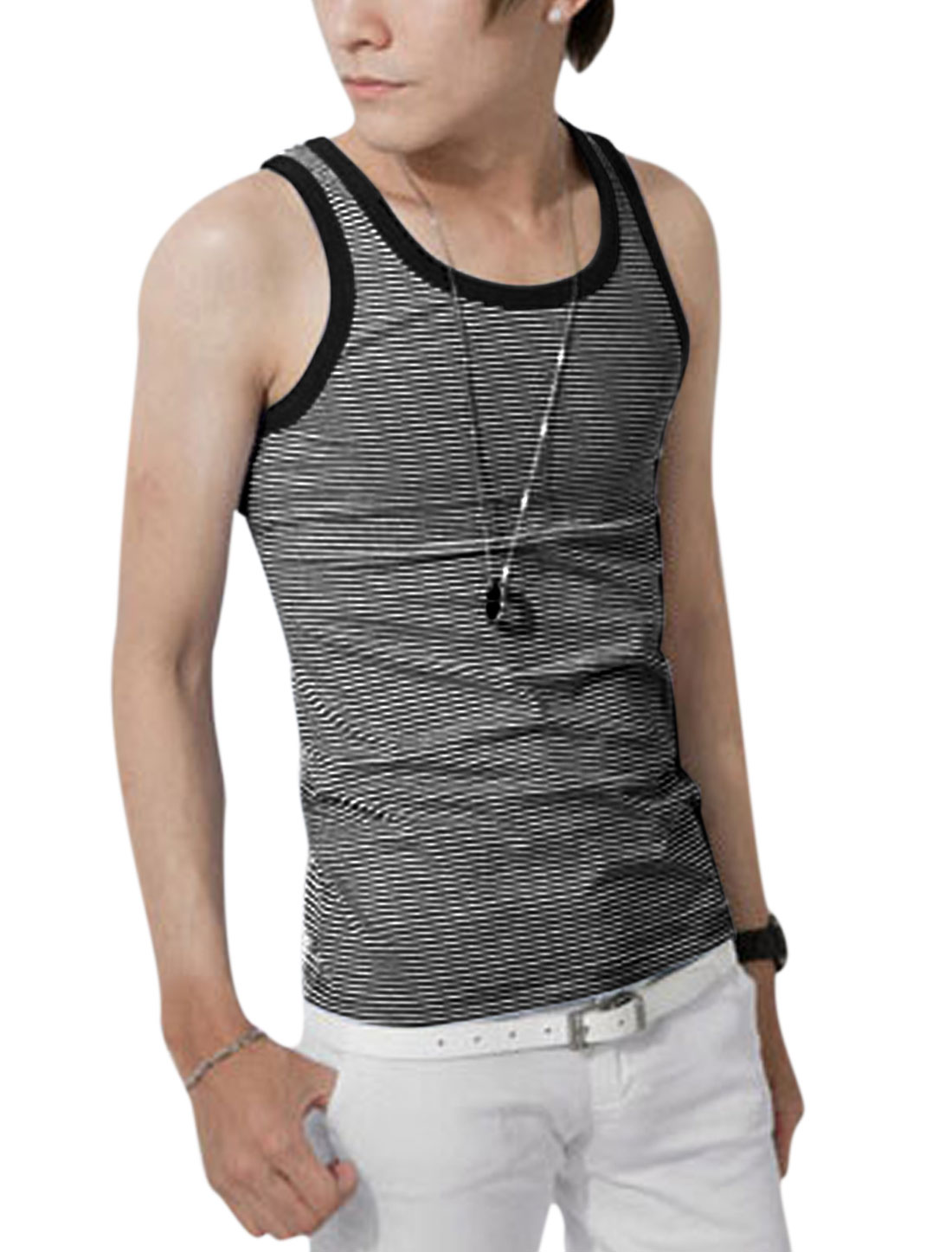 Man Sleeveless Stripes Print Summer Fit Tank Top Black White S