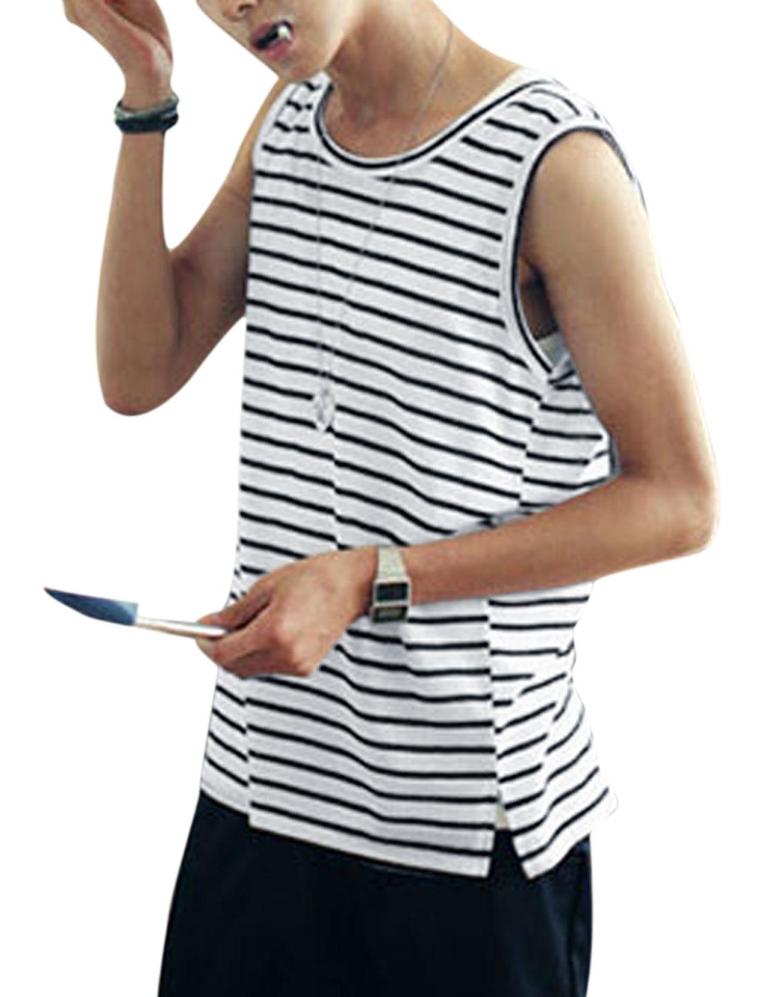 Men Fashion Stripes Pattern Split Hem Tank Top Black White S