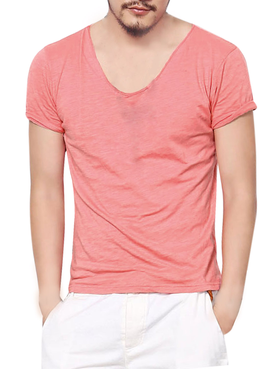 Men Scoop Neck Summer Fit Tee Shirt Pink M
