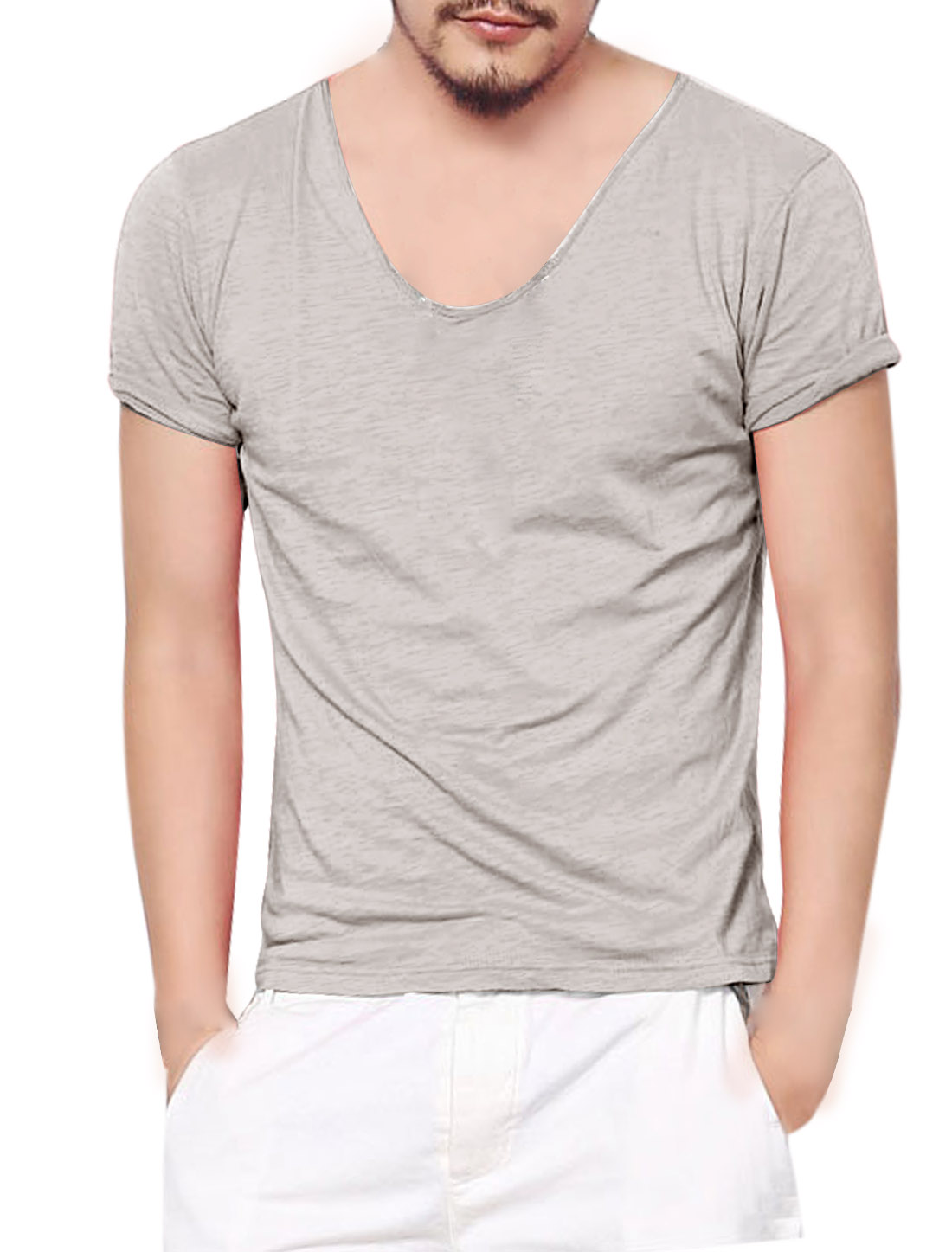 Man's Summer Fit Short Sleeve Pullover T Shirt Light Gray M