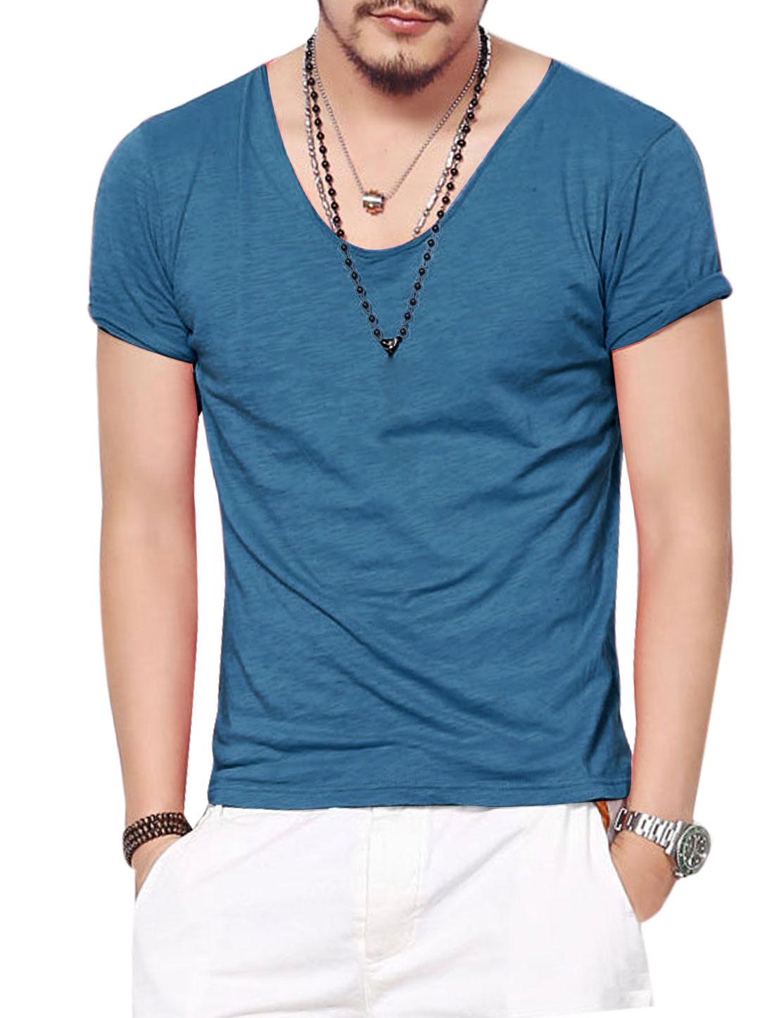 Man Navy Blue M Scoop Neck Pullover Summer Fit T-Shirt