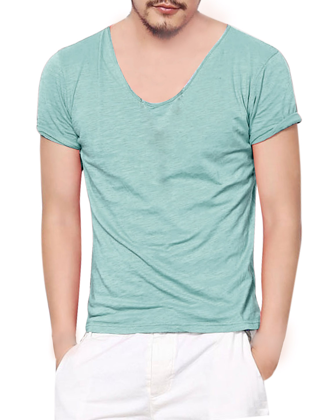 Man Summer Fit Scoop Neck Short Sleeve Top Dusty Green M